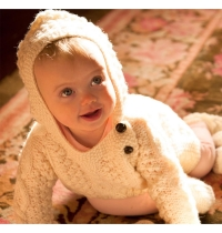 100% Merino Wool Baby Hoodie with Side Fastening Buttons Natural