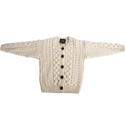 Child's Irish Aran Wool Lumber Cardigan Sweater