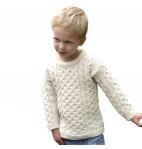100% Irish Merino Wool Little Boy's Crew Neck Aran Sweater