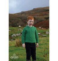 Aran Woollen Mills - Carraig Donn Childs Irish Merino Wool Crew Cut Sweater