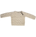 Baby Hand Knit Side Fastening Button Crew Neck Wool Sweater