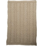 Vintage Knit Irish Wool Plaited Aran Celtic Blanket (White/Wicker)