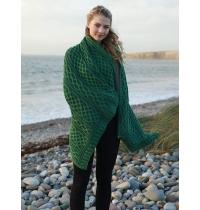 Vintage Knit Irish Wool Plaited Aran Celtic Blanket (Kiwi/Connemara Green)