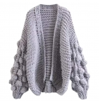 Women Cardigan Sweater Hand-Knitted Pom Pom Sleeve Dress Sexy Open Front Coats