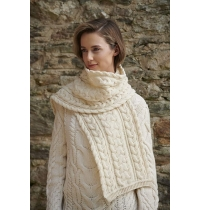 Aran Crafts Cable Knit Chunky Scarf (100% Merino Wool)