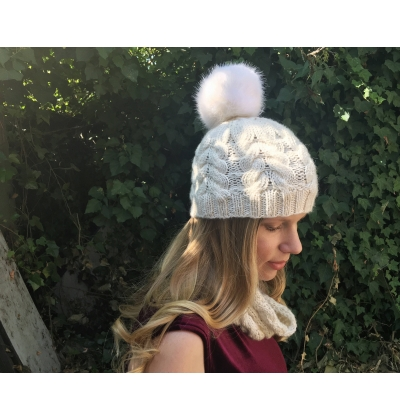 Alpine Cabled Hat, Winter Beanie, worsted weight yarn faux fur pom pom