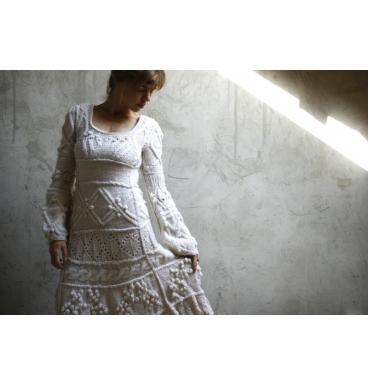 Off-white hand knit dress - wedding dress